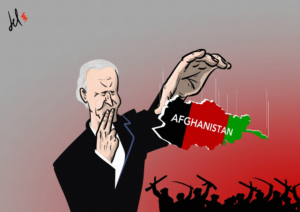 cartoon by emanuele del rosso about biden and afghanistan
